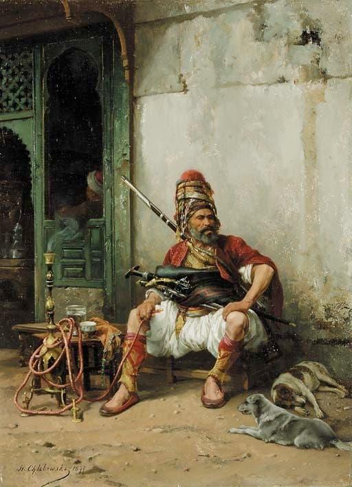 لوحة للرسام البولندي شليبوسكي تجسد أحد أفراد الباشبوزق وهو يدخن
