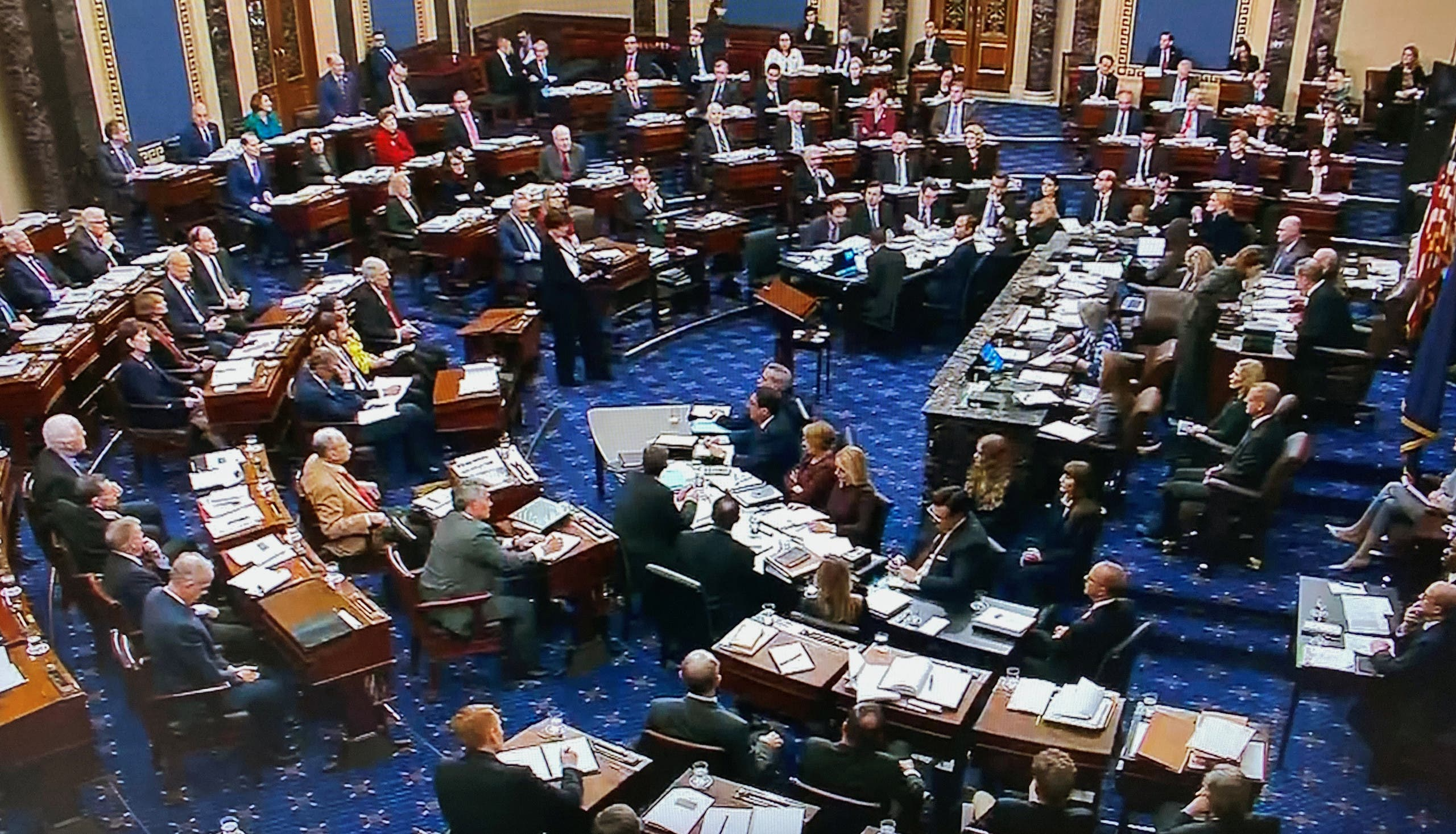 The US Senate votes to table an amendment by Minority Leader Chuck Schumer (D-NY) seeking documents and evidence from the White House during the impeachment trial of President Trump in this frame grab video. (File photo: Reuters)