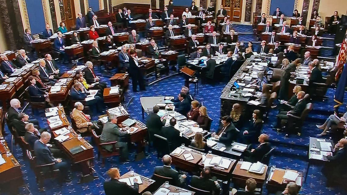 The US Senate votes to table an amendment by Minority Leader Chuck Schumer (D-NY) seeking documents and evidence from the White House during the impeachment trial of President Trump in this frame grab video. (Reuters)