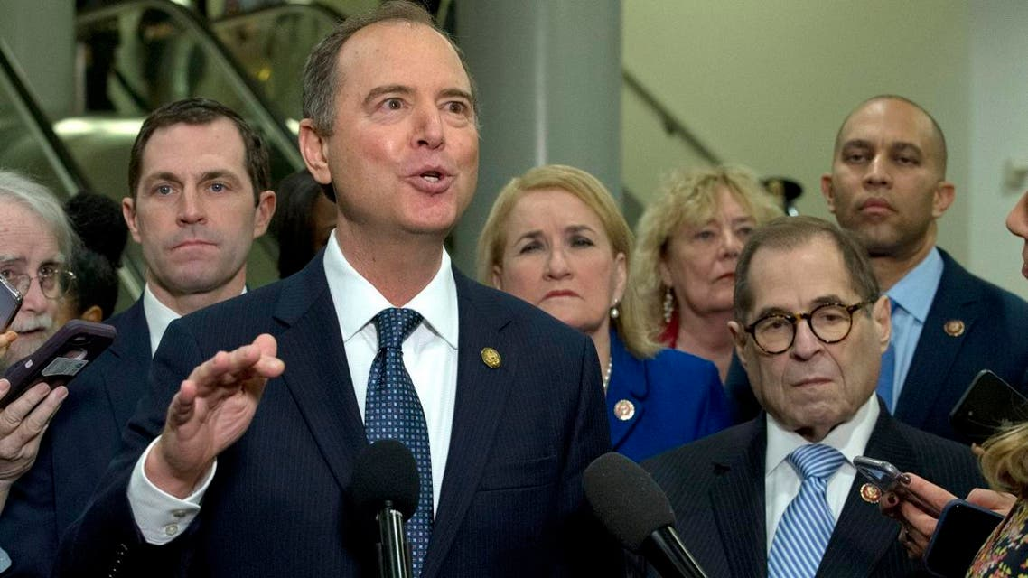 House Intelligence Committee Chairman Adam Schiff, D-Calif., accompanied by the impeachment managers House Judiciary Committee Chairman, Rep. Jerrold Nadler, D-N.Y., Rep. Hakeem Jeffries, and others, speaks to reporters on Capitol Hill in Washington, on Janusary 22, 2020. (AP)