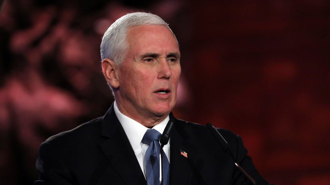 U.S. Vice President Mike Pence speaks at the World Holocaust Forum marking 75 years since the liberation of the Nazi extermination camp Auschwitz, at Yad Vashem Holocaust memorial centre in Jerusalem, Thursday, Jan. 23, 2020. (Abir Sultan, Pool via AP)