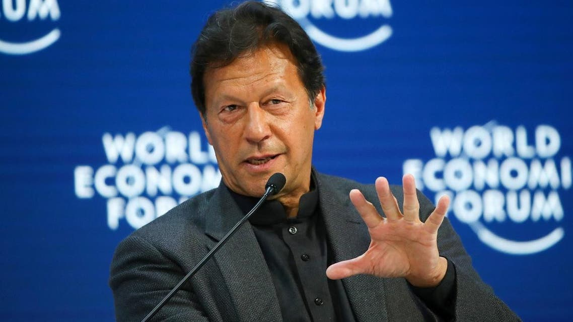 Pakistan's Prime Minister Imran Khan speaks during a session at the 50th World Economic Forum (WEF) in Davos, Switzerland, on January 22, 2020. (Reuters)