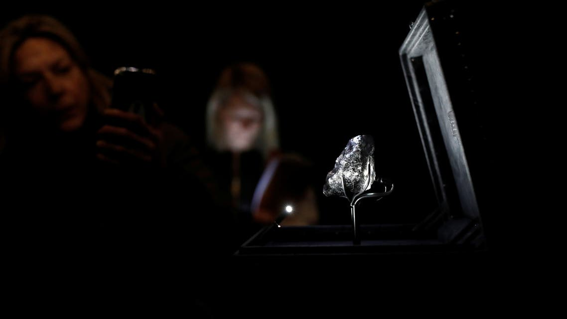 A recently purchased Sewelo diamond, the world's second-largest diamond, a 1,758 carat jewel of about the size of a tennis ball is displayed during a press preview at the Louis Vuitton store in Paris, France, January 21, 2020. REUTERS/Benoit Tessier