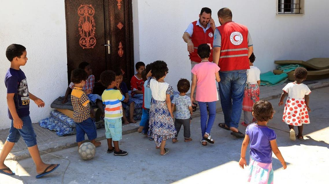 A picture taken on August 2, 2017 shows children of Islamic State (IS) group fighters currently living in the Libyan Red Crescent headquarters in Misrata, a town half-way between Sirte and Tripoli. (File photo: AFP)