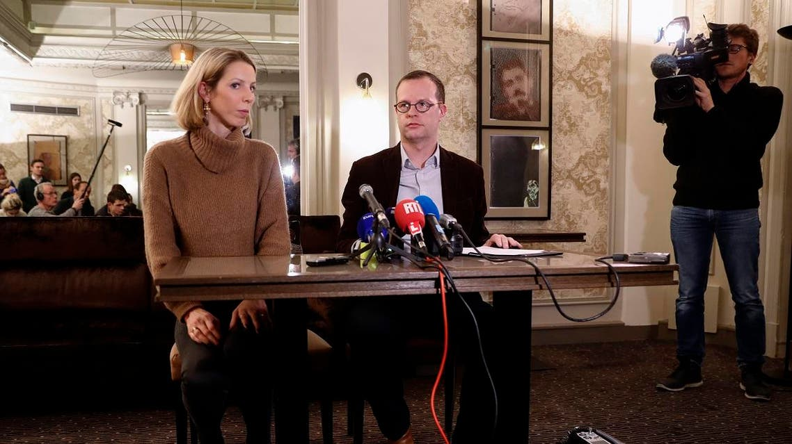 Jeanne Der Agopian (L), press relations officer, and Benjamin Blanchard, directer general of the French charity, SOS Chretiens d'Orient (Christians of the Middle East) give a press conference in Paris. (AFP)