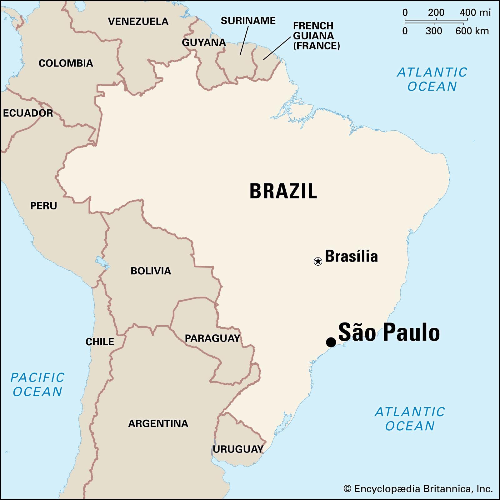 خريطة تبرز موقع ساو باولو بالبرازيل