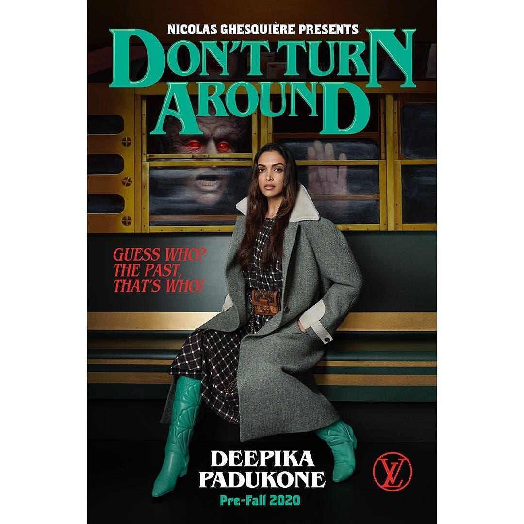 دبيكا بادكون كما بدت في الحملة الترويجية لمجموعة لويس فويتون الخاصة بما قبل خريف2020