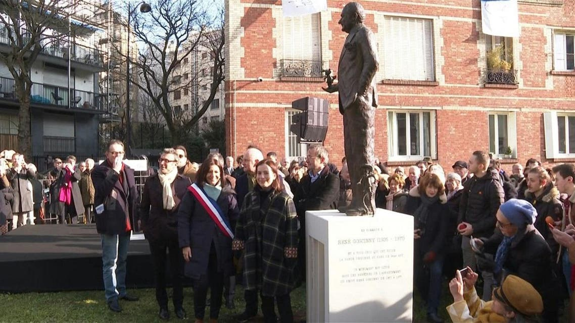 A screengrab of a video provided by AFP during the unveiling of a statue of Rene Goscinny in Paris, France on January 23, 2020. (AFP)