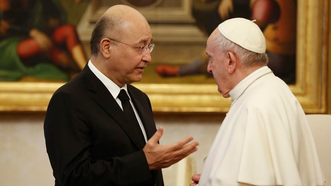 Iraqi President Barham Salih is received by Pope Francis at The Vatican, Saturday, January 25, 2020. (AP)