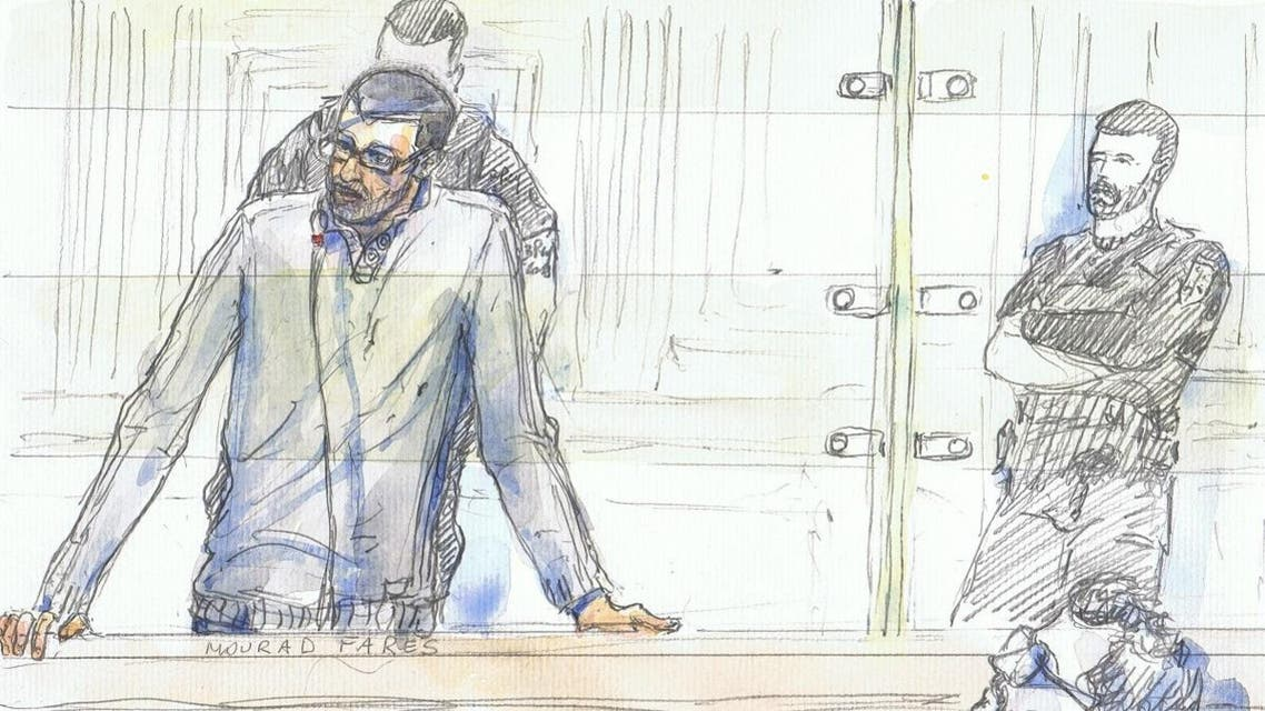 A court sketch made on January 20, 2020 shows suspected IS recruiter Mourad Fares standing during his trial in Paris over accusation of taking part in a criminal organization of a terrorist association. (AFP)