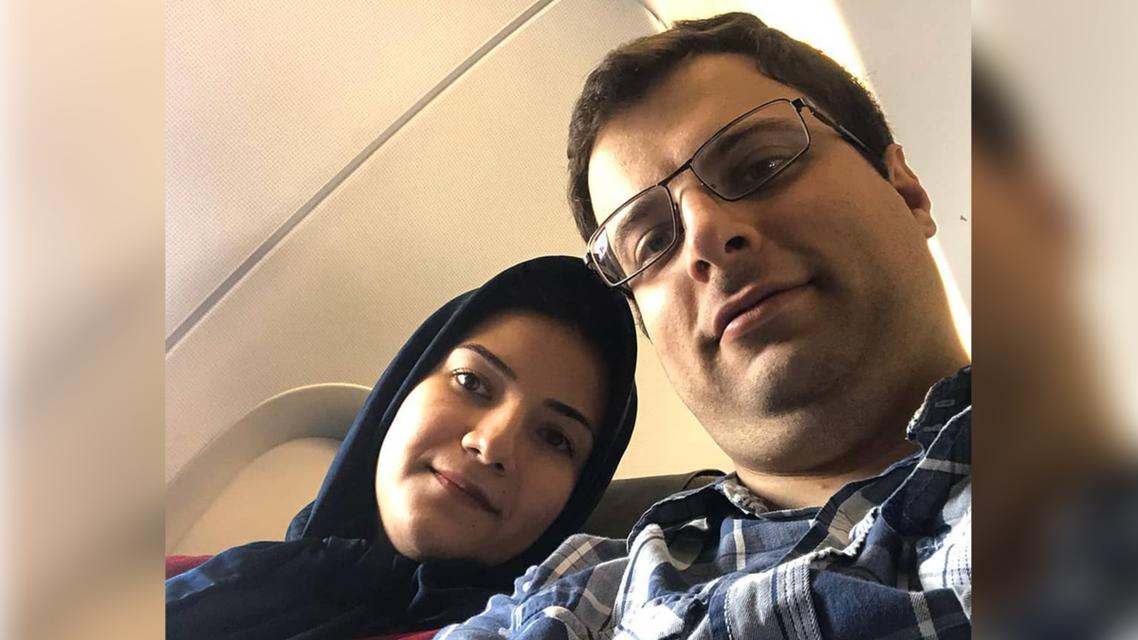 Soleimani Meimandi with wife Elnaz Nabiyi, shot down in plane (from his instagram, @javadsoleime).png