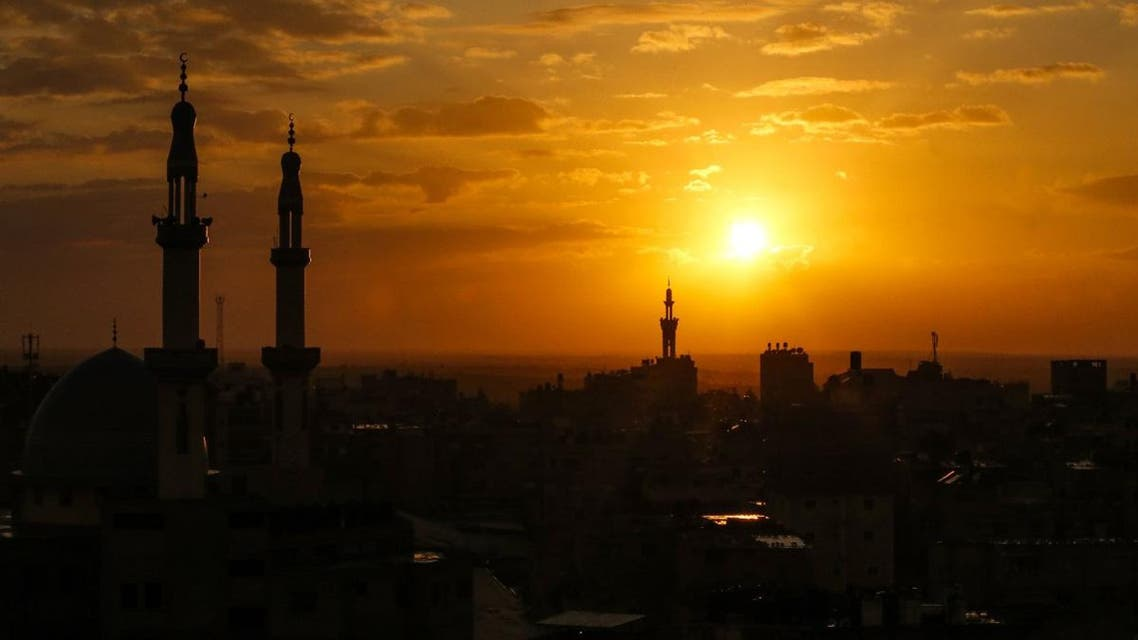 This picture taken on January 21, 2020 shows a view of the sunset from Rafah in the southern Gaza Strip. (AFP)