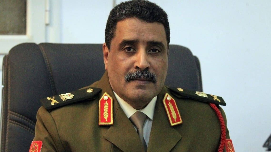 Ahmad al-Mesmari, spokesman for Haftar's forces, addresses the media in the eastern Libyan city of Benghazi on January 6, 2020. Forces of Libyan strongman Khalifa Haftar announced they had taken control of the coastal city of Sirte from factions loyal to the Tripoli government. Sirte, some 450 kilometres (280 miles) east of the capital Tripoli, had been held by forces allied with the UN-recognised Government of National Accord (GNA) since 2016.