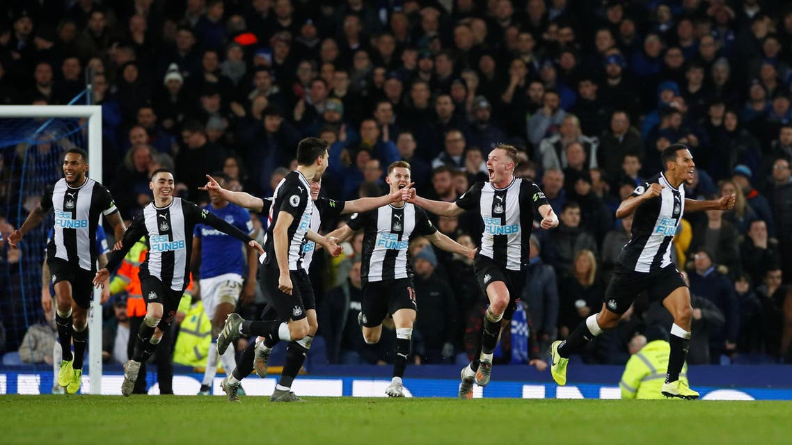 Newcastle United players celebrate after Florian Lejeune scores their second goal against Everton, January 21, 2020. (File photo: Reuters)