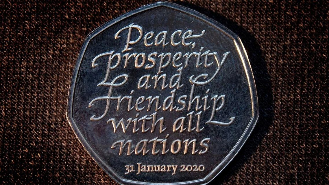 "Brexit commemorative 50 pence coin that bears the words ""Peace, prosperity and friendship with all nations"" is pictured in an unknown location and uploaded to social media on January 26, 2020. (Reuters)"