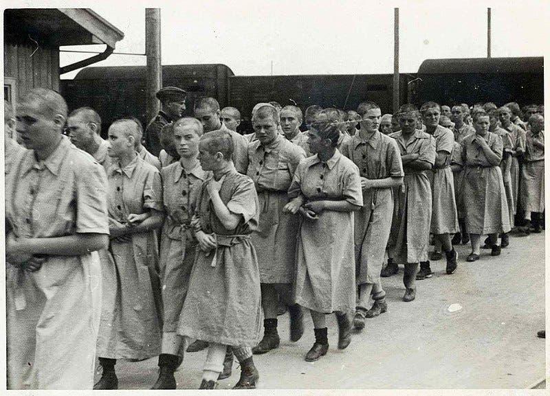 صورة لعدد من النساء المعتقلات بأوشفيتز