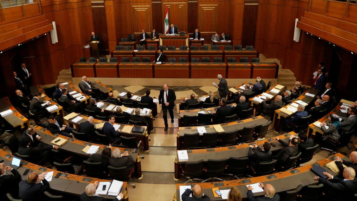 Lebanese members of parliament attend a parliament session in downtown Beirut, Lebanon. (Reuters)