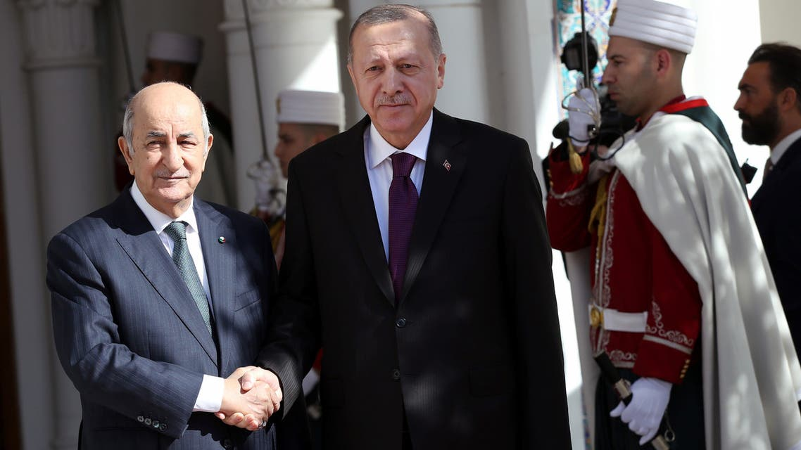 Turkish President Tayyip Erdogan meets with Algerian President Abdelmadjid Tebboune in Algiers, Algeria, January 26, 2020. Turkish Presidential Press Office/Handout via REUTERS ATTENTION EDITORS - THIS PICTURE WAS PROVIDED BY A THIRD PARTY. NO RESALES. NO ARCHIVE