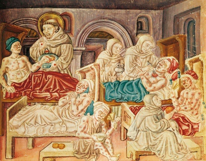 رسم تخيلي لعدد من مصابي الطاعون بالعصور الوسطى