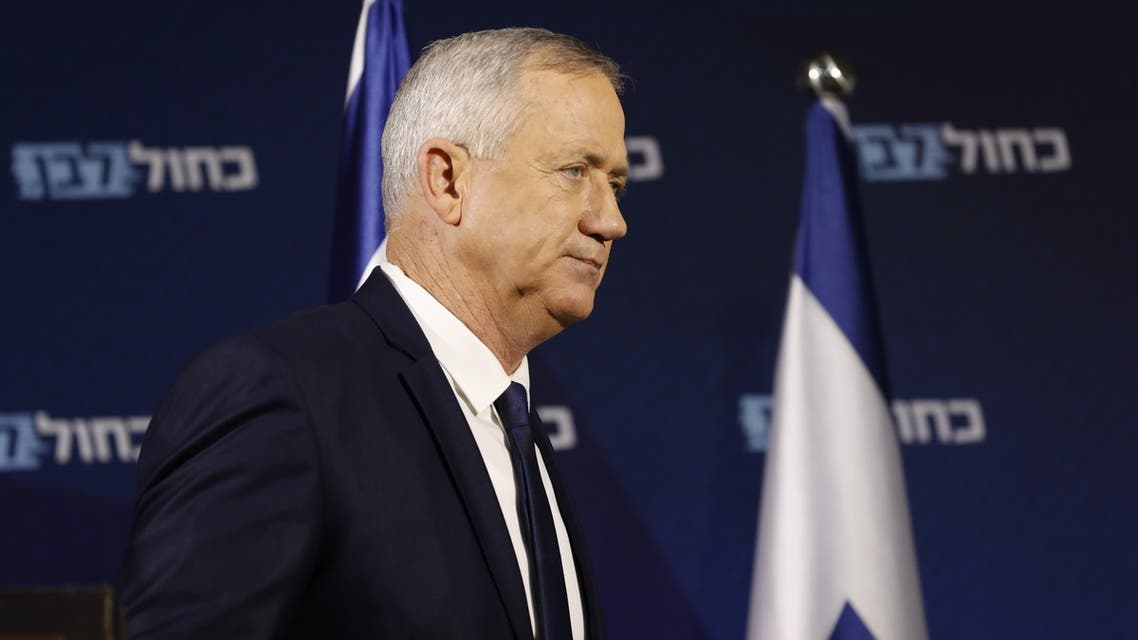 Retired Israeli General Benny Gantz, one of the leaders of the Blue and White (Kahol Lavan) political alliance, arrives to give a press conference in Tel Aviv on January 25, 2020. US President Donald Trump said on January 23 he will release a long-delayed plan for Mideast peace before a meeting in Washington next week with Israeli Prime Minister Benjamin Netanyahu and his rival Benny Gantz.