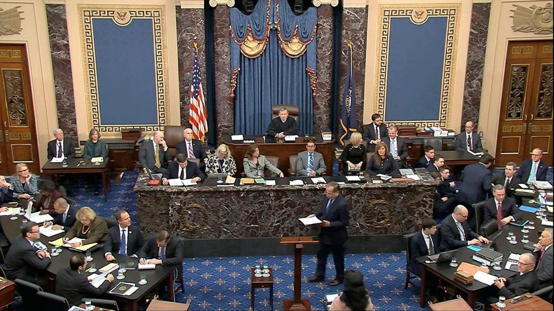 In this image from video, Robert Ray, an attorney for President Donald Trump, walks to the podium to speak during the impeachment trial against Trump in the Senate at the US Capitol in Washington, on January 27, 2020. (AP)