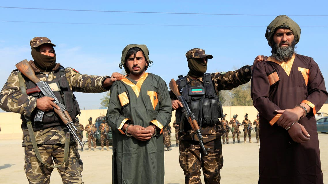 Captured Taliban insurgents are presented to the media after being detained with car explosive devices in Jalalabad, Afghanistan December 10, 2019. (Reuters)
