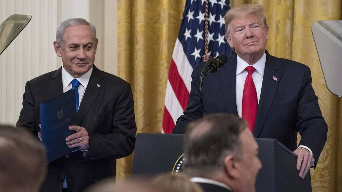 President Trump and Israeli PM Netanyahu speak during a joint statement in the East Room of the White House on January 28, 2020 in Washington, DC. (AFP)