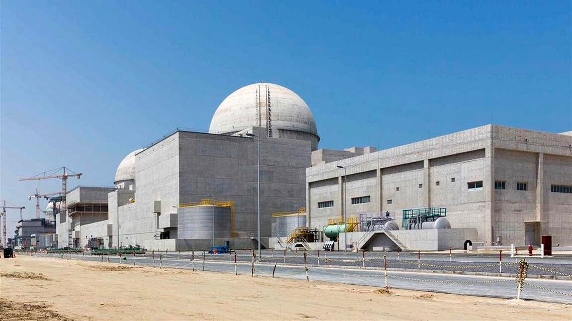 This undated photograph released by the United Arab Emirates' state-run WAM news agency, shows the under-construction Barakah nuclear power plant in Abu Dhabi's Western desert. (AP)