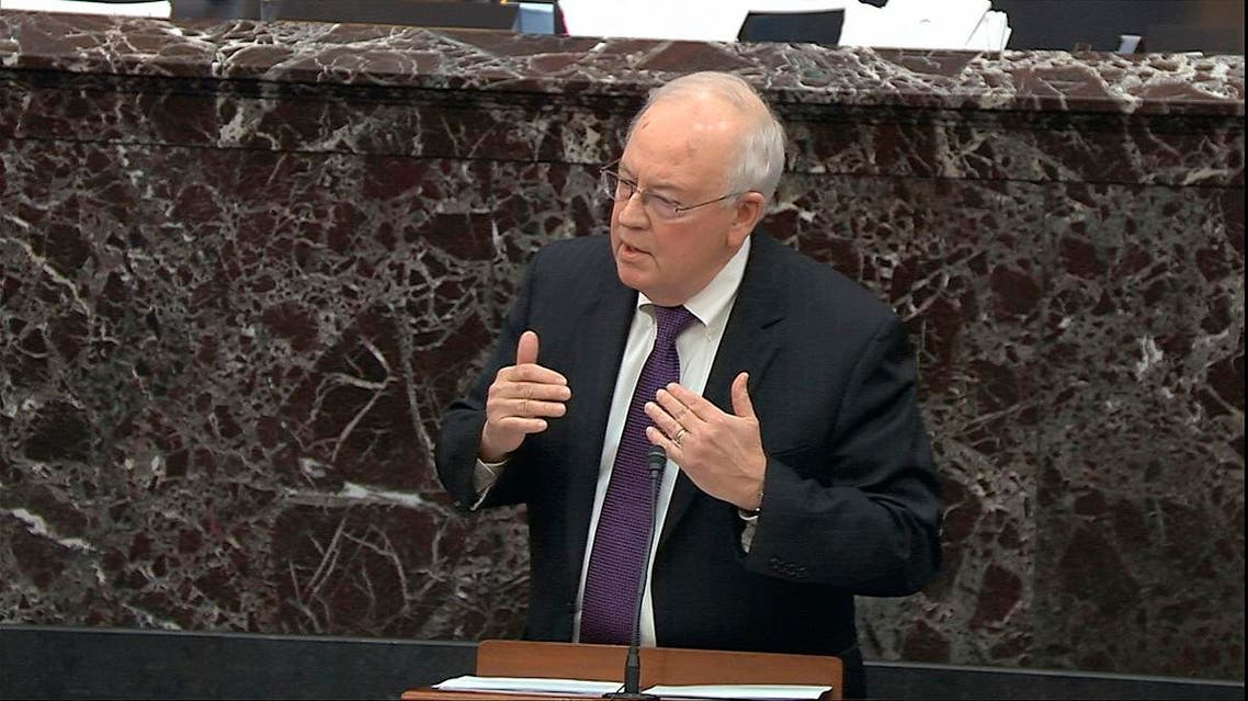 In this image from video, Ken Starr, an attorney for President Donald Trump, speaks during the impeachment trial against Trump in the Senate at the US Capitol in Washington. (AP)