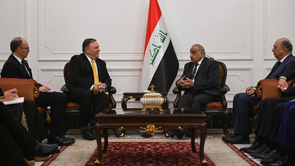US Secretary of State Mike Pompeo (L) talks with Iraqi Prime Minister Adil Abdul-Mahdi (R) in Baghdad, during a Middle East tour, on January 9, 2019. The eight-day tour comes weeks after the US President announced that the United States would quickly pull its 2,000 soldiers out of Syria, declaring that IS -- also known as ISIS -- had been defeated.