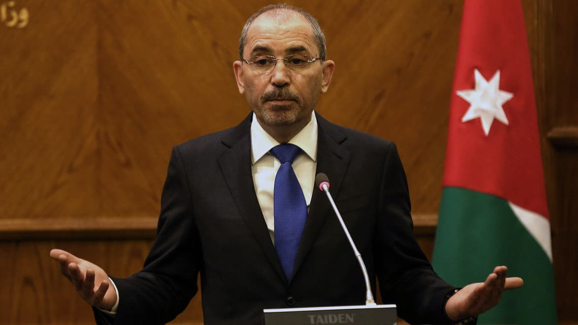 Jordanian Foreign Minister Ayman Safadi speaks during a joint press conference with his Russian counterpart in the Jordanian capital Amman on April 7, 2019.