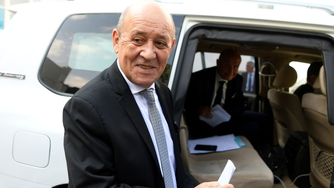 French Foreign Affairs Minister Jean-Yves Le Drian arrives to meet the Tunisian parliament president on January 9, 2020 in Tunis to discuss developments in the Libyan crisis.