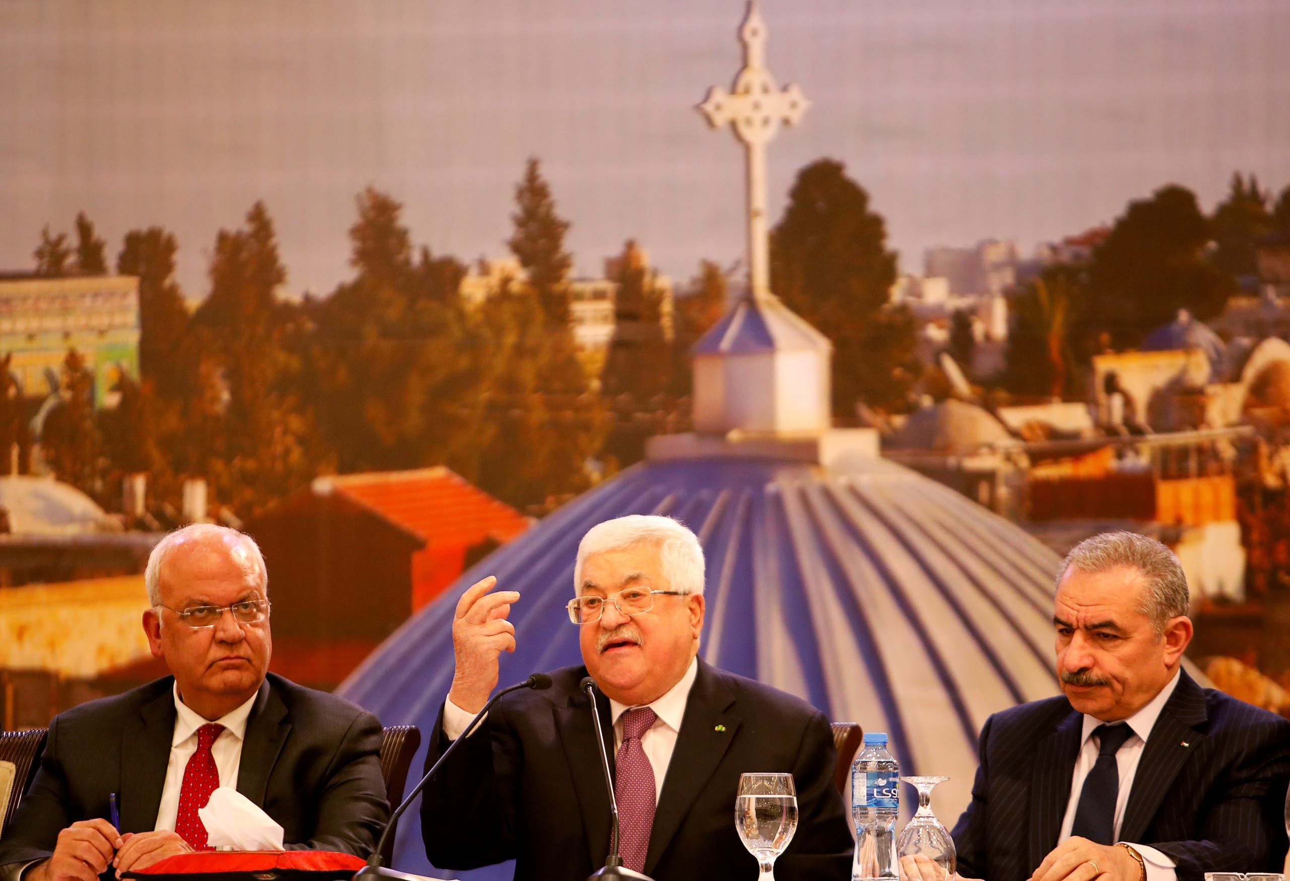 Palestinian President Mahmoud Abbas delivers a speech in Ramallah in the Israeli-occupied West Bank January 28, 2020. (Reuters)