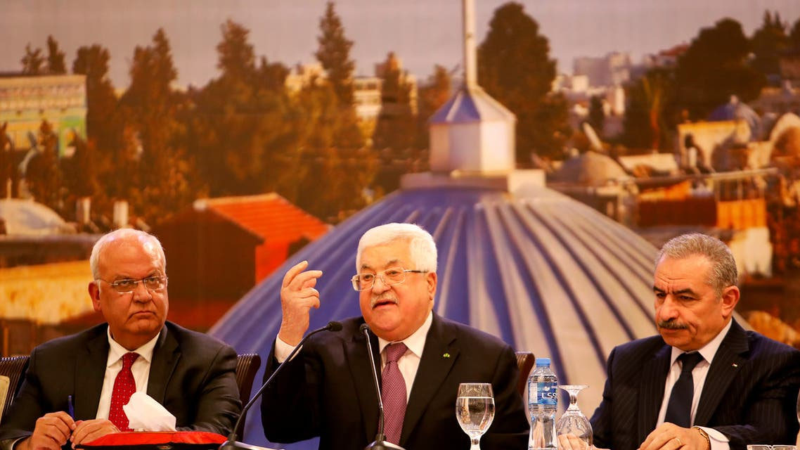 Palestinian President Mahmoud Abbas delivers a speech following the announcement by the U.S. President Donald Trump of the Mideast peace plan, in Ramallah in the Israeli-occupied West Bank January 28, 2020. REUTERS/Raneen Sawafta