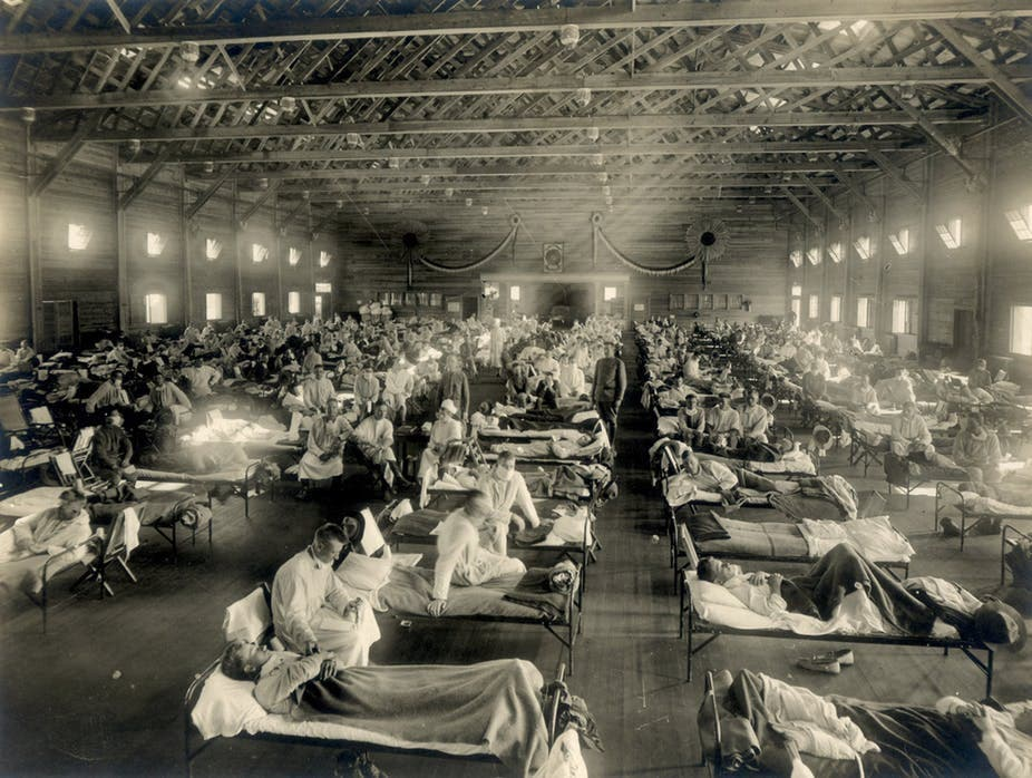 صورة لعدد من المصابين أثناء فترة انتشار الأنفلونزا الإسبانية