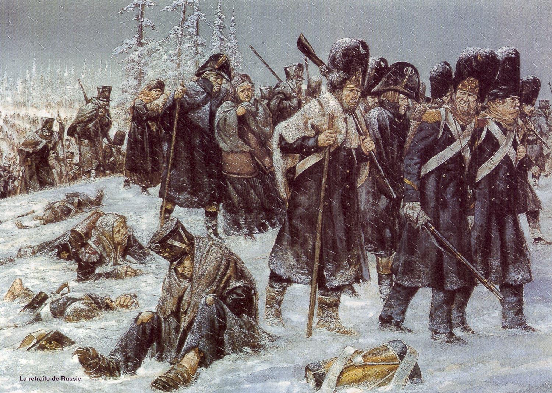 لوحة تجسد جيش نابليون منهكا بسبب البرد والمرض بروسيا