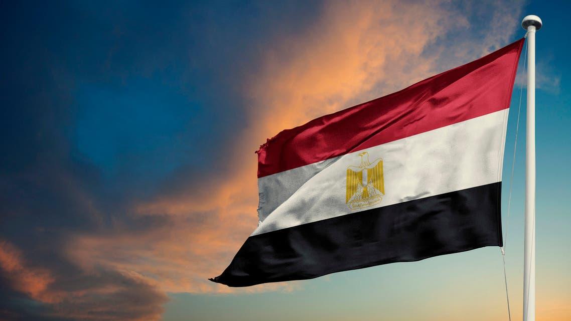 Egypt flag waving cloudy sky background stock photo