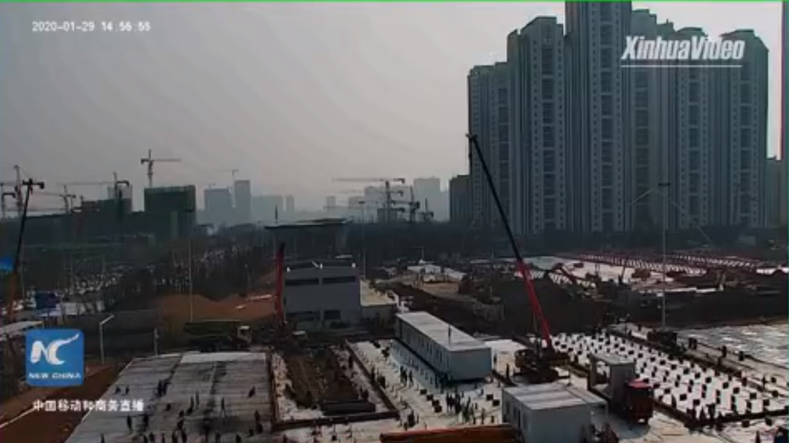 Construction site of makeshift Leishenshan Hospital in Wuhan, south China. For coronavirus, based on SARS. (Screengrab: Xinhua News video on Twitter)