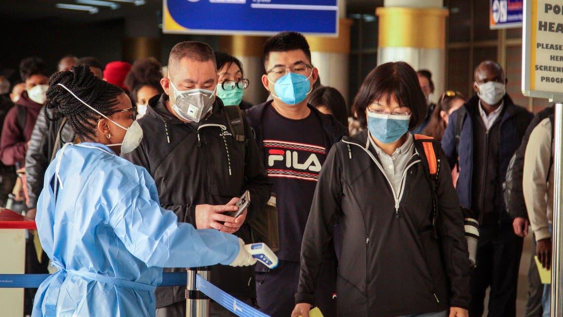 Passengers arriving from Changsha in China are screened in Nairobi, Kenya on Jan. 29, 2020. (AP)