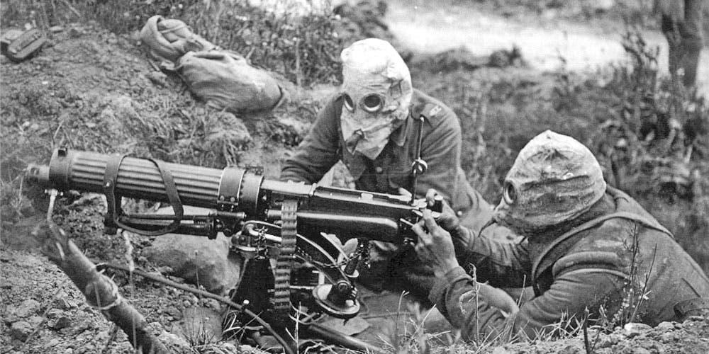 صورة لجنود مزودين برشاش بالحرب العالمية الأولى
