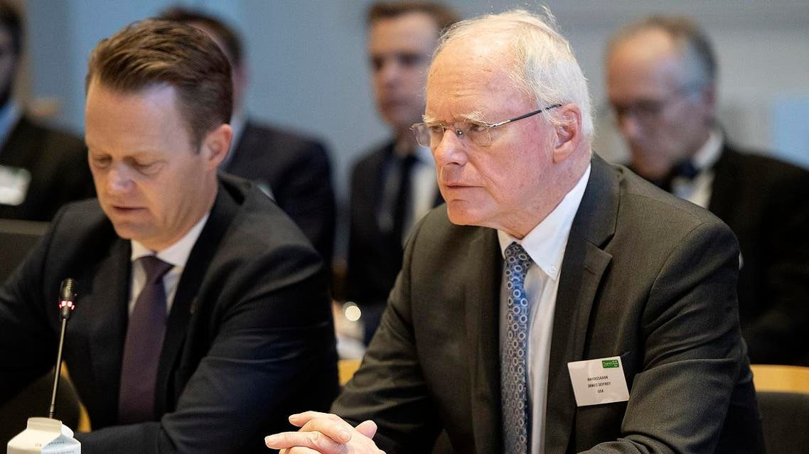 US Special Envoy James Jeffrey (R) and Denmark's FM Jeppe Kofoed (L) attend a meeting of the Global Coalition against ISIS at the Foreign Ministry in Copenhagen, on January 29, 2020. (AFP)