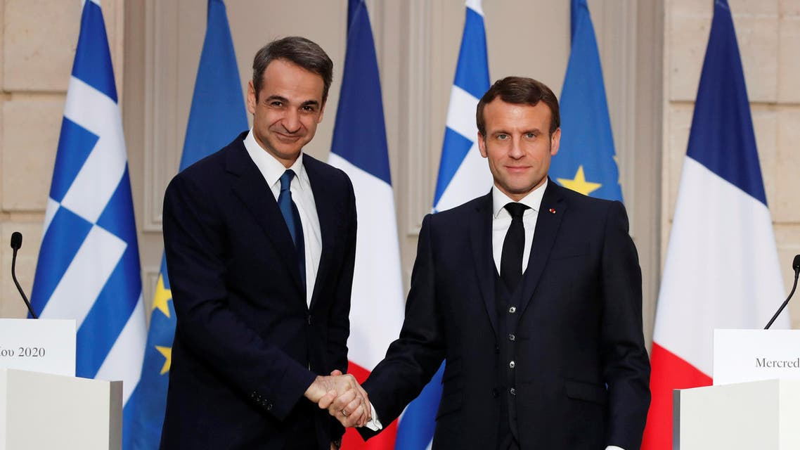 Greek PM Mitsotakis with French President Emmanuel Macron, January 29, 2020. Greece, France. (Reuters)