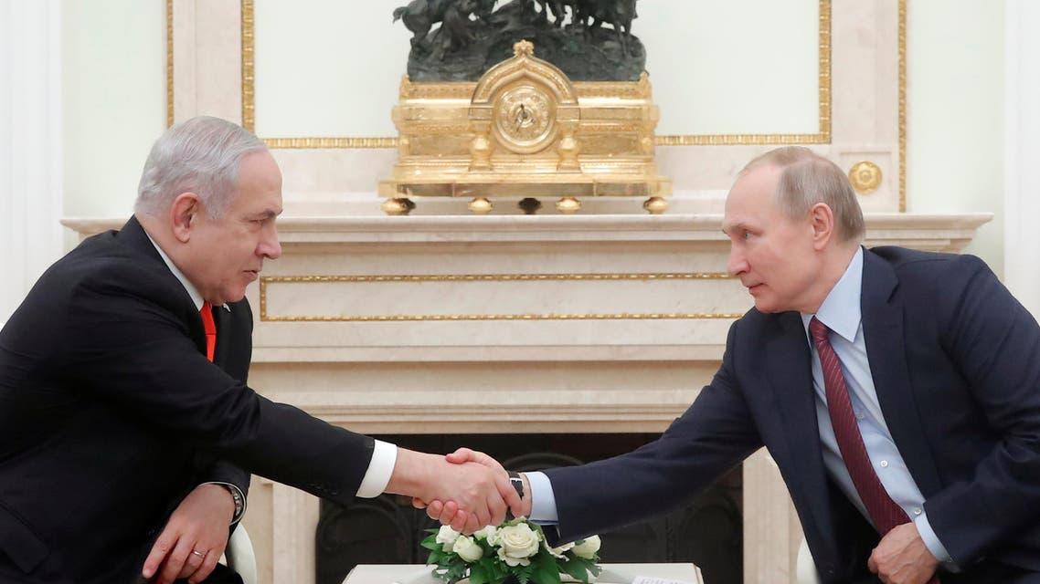 Russian President Vladimir Putin meets with Israeli Prime Minister Benjamin Netanyahu at the Kremlin in Moscow on January 30, 2020. (AFP)