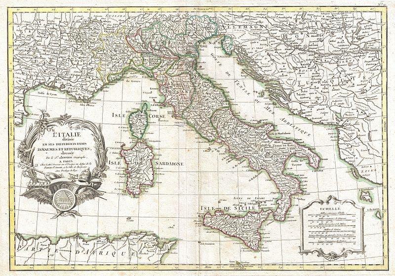رسم لخريطة إيطاليا خلال القرن السابع عشر