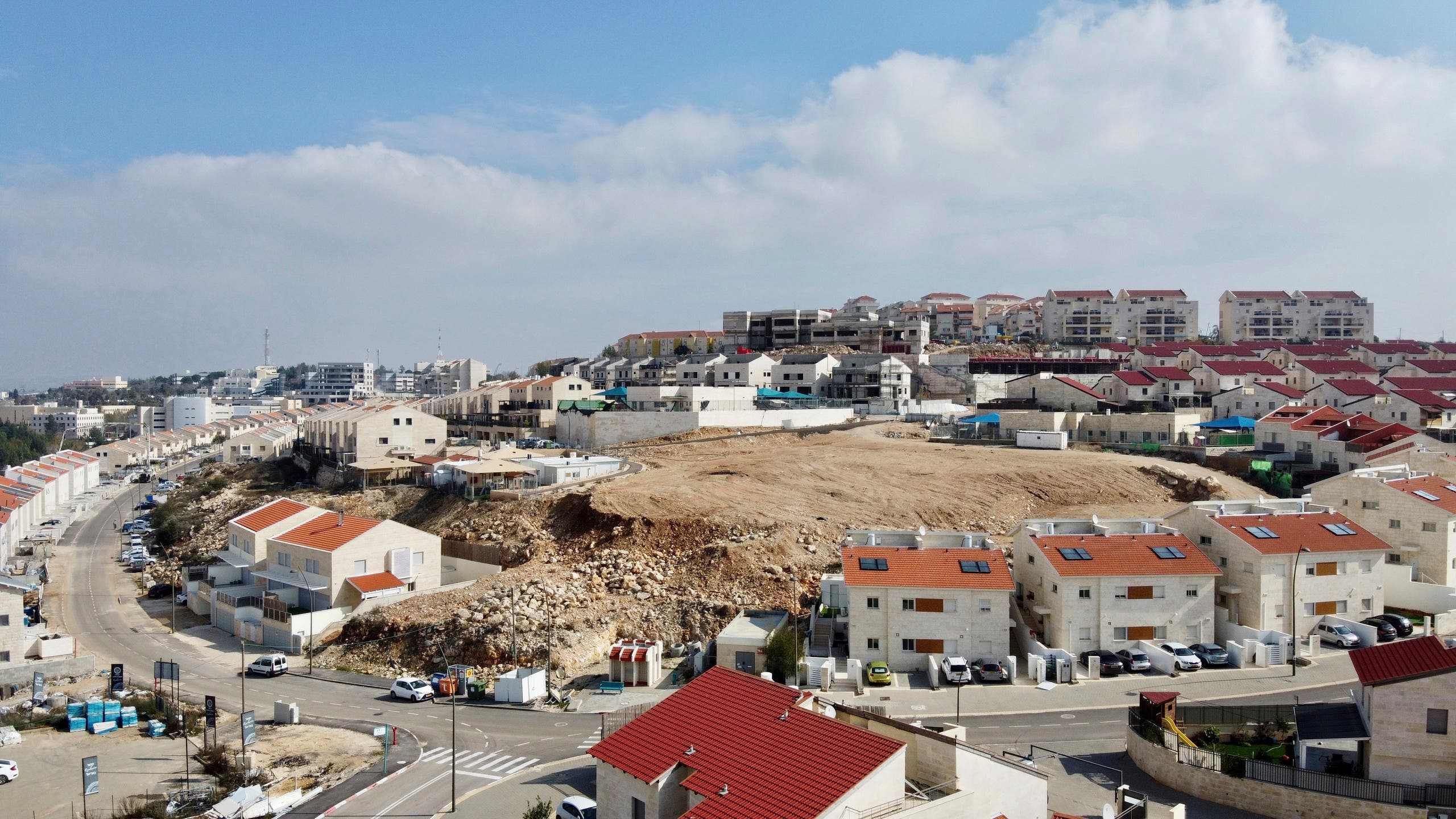 A view overlooks the Jewish West Bank settlement of Ari'el, Tuesday, Jan. 28, 2020. (AP)