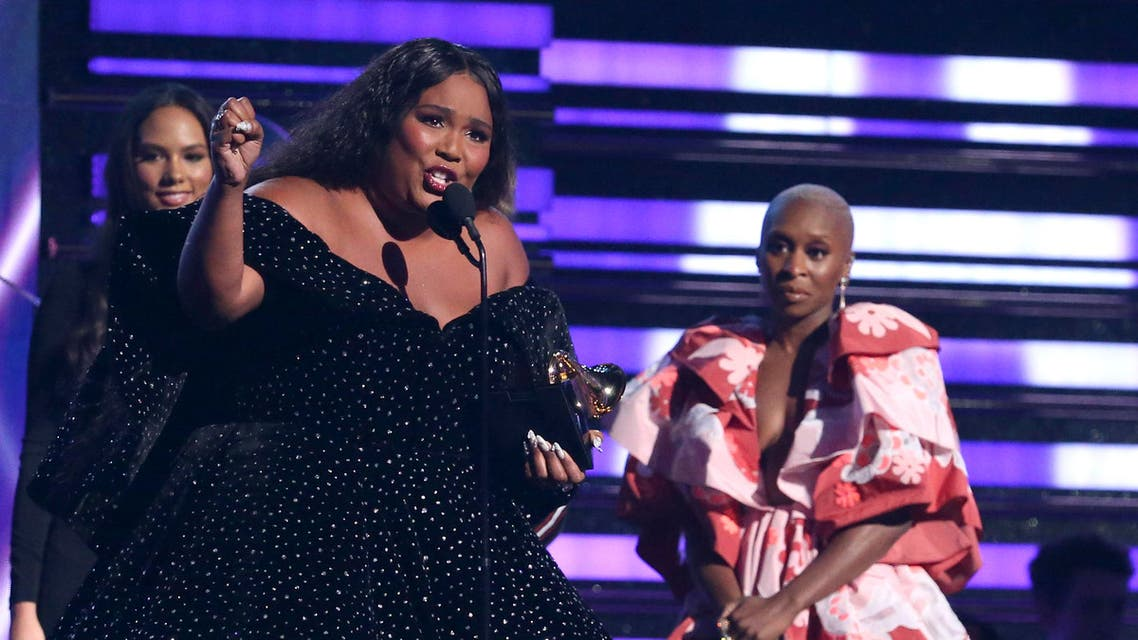 """Lizzo accepts the award for best pop solo performance for """"Truth Hurts"""" at the 62nd annual Grammy Awards. (AP)"""