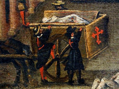 لوحة تجسد عملية نقل جثث عدد من ضحايا الطاعون بإيطاليا