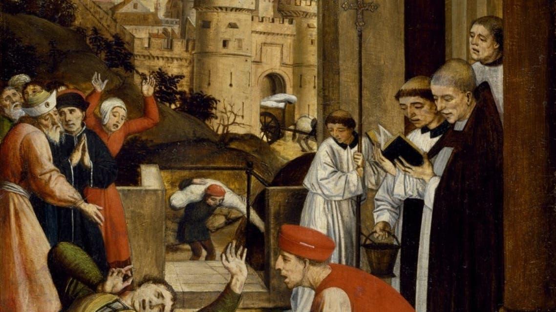 لوحة تجسد عملية نقل جثث عدد من ضحايا وباء الطاعون بالعصور الوسطى