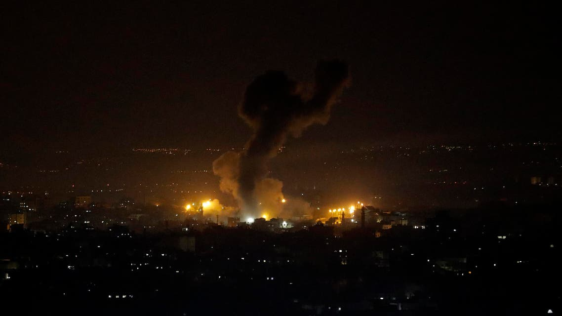 An explosion caused by Israeli airstrikes is seen on Gaza City, Wednesday, Jan. 15, 2020. (AP)