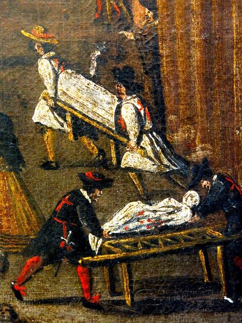 جانب من إحدى اللوحات التي جسدت عمليات نقل جثث الموتى من الطرقات خلال الطاعون الذي هز إيطاليا